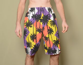 069a271450 vintage 80s 90s board shorts 1980 1990 cotton swim trunks geometric palm  tree pattern print Overboard USA M/L/XL