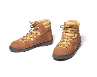 f2d2372b573 vintage 80s 90s hiking boots Noatak Made in Spain brown suede two tone  moutaneering boots hike camp boot men size 8.5 women size 10