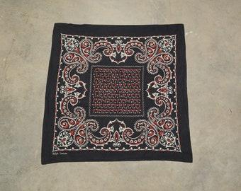 9413e7b322d35 vintage 70s 80s Ralph Lauren bandana 100% cotton Made in Japan paisley  handkerchief hanky RL RRL red black white kerchief preppy trad