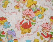 80s Strawberry Shortcake bed sheet 1980 bedding twin flat fabric material happy love