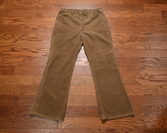 Vintage 70s Brown Corduroy Pants Wide Leg Flare Bellbottom Cords 1970 Menswear 37x31 37waist Talon 42