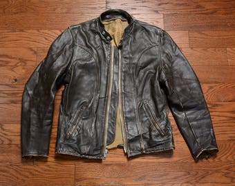 06c7945f vintage 60s Schott Perfecto leather jacket brown leather cafe racer motorcycle  jacket distressed M 38 1960 menswear biker