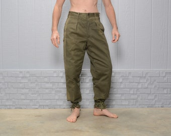 Original British Olive Trousers Army Surplus Pants Green Light Military Button