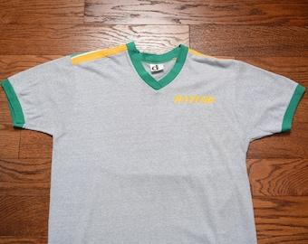 vintage 80s Baylor University ringer t-shirt 1984 Baylor v-neck heather  gray tee shirt jersey Baylor Bears Made in USA M L ce57146a9