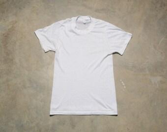 c50550f2 vintage 70s white crew neck t-shirt undershirt paper thin worn in slim  slimft XXS/XS 1970 burnout tee shirt distressed men women unisex
