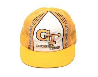 ba3592e95e9 vintage 80s trucker hat Georgia Tech mesh hat GT Yellow Jackets 1980  snapback baseball cap stripe hat Made in USA