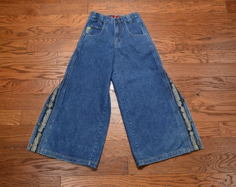 3f2e33afc vintage 90s B One Soul jeans wide leg baggy pants raver skater snap side  1990 skate rave 25