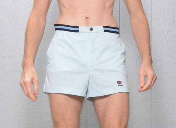 vintage 70s 80s Fila White Line trunks shorts pale