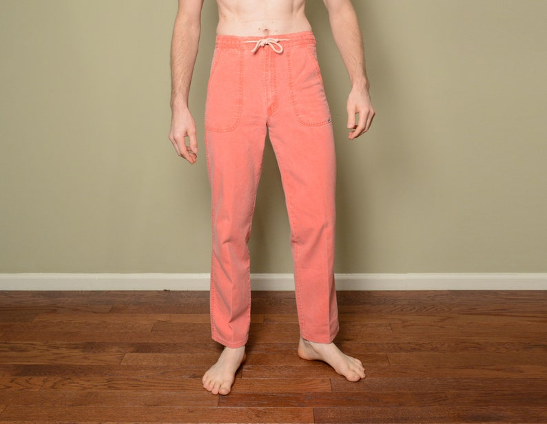 vintage 80s PCH pants coral pink FADE OUT craft dyed fabric Pacific Coast  Highway surf skate 1980 patel blue green pants 28-32 waist 30L