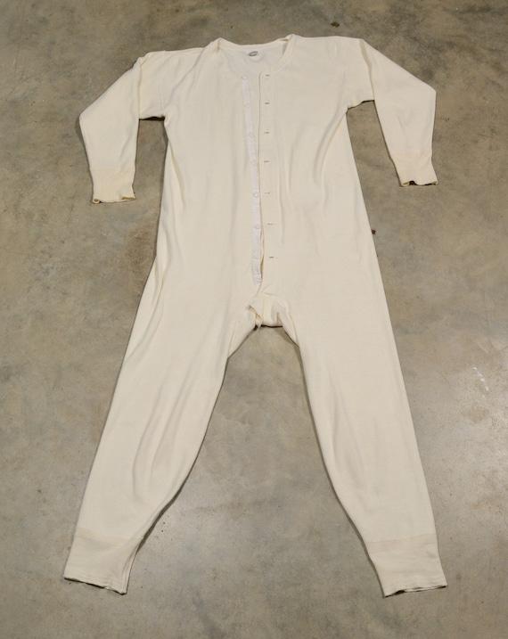 vintage union suit onesie thermal underwear one p… - image 3
