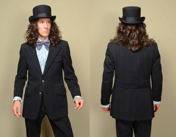 mens vintage suit 70s vintage mens black textured