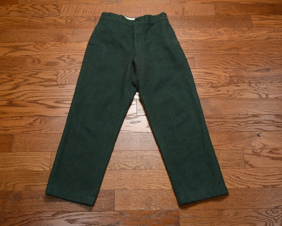 pantalon en laine laine en vintage des années 80 vert forêt vert sombre d'hiver chasse pantalon 32x30.5 taille 32 1980 camping randonnée Kittery Trading Post Maine 2c139c