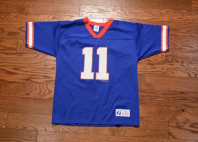 official photos 11714 3edf0 vintage 90s Giants jersey 11 #11 Phil Simms New York Giants 1980 mesh  football shirt youth XL adult S/M Logo 7 USA