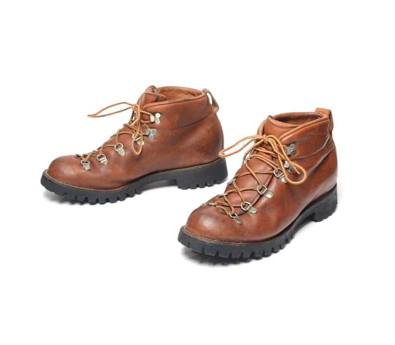 90f59f24c96 vintage 70s hiking boots 1970 brown leather moutaineering boots hike camp  boot men size 9.5