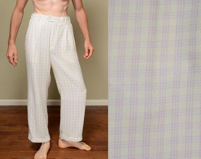 Vintage 80s 90s holgados pantalones cuadros pálido amarillo | Etsy