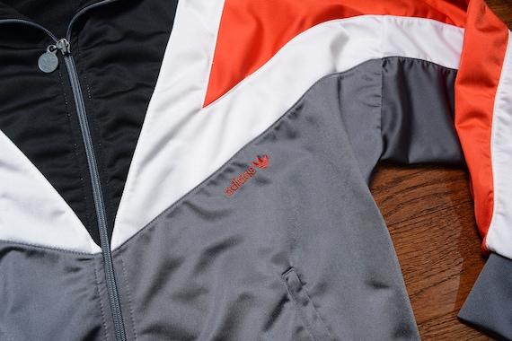 veste de piste Adidas vintage des années 80 1980 réchauffer veste blanc rouge noir des années 1980 Adidas veste M moyen sport athletic football