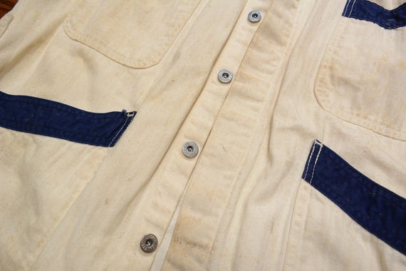 vintage 30s 40s mechanic coat HBT denim smock jac… - image 4