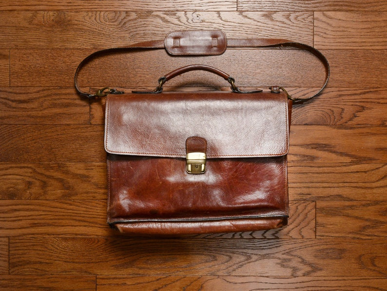 Vintage Old Angler leather briefcase dark brown leather  67fcbd6350dd2