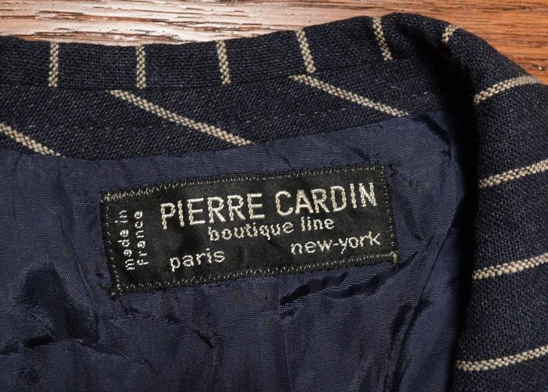 vintage men suit 70s wide lapel suit black pinstripe suit Pierre Cardin wide leg pant gangster pimp 1970 menswear 39-40R France