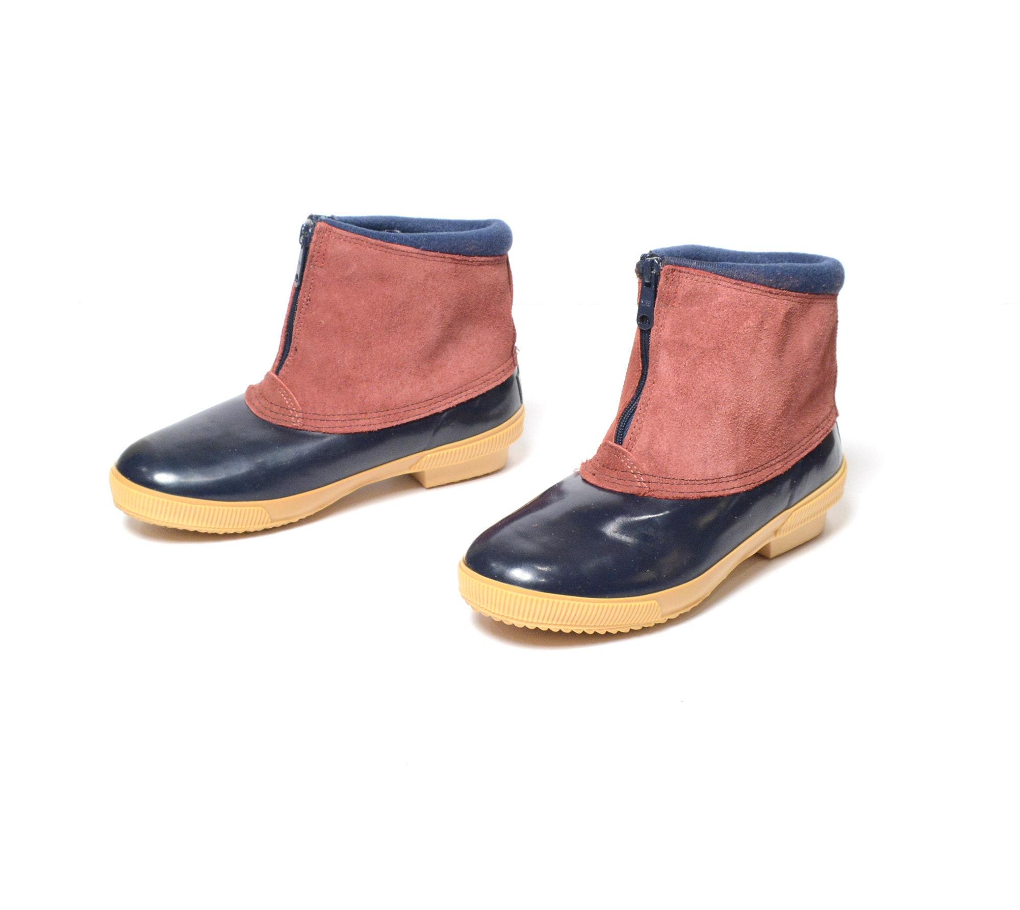 8a6f7e72c4e27 vintage 80s Lands End duck boots rubber suede front zipper rain booties  women's 8 1980 winter boots preppy prep nautical