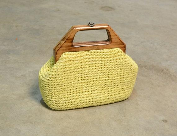 vintage 60s yellow raffia woven purse wood handle