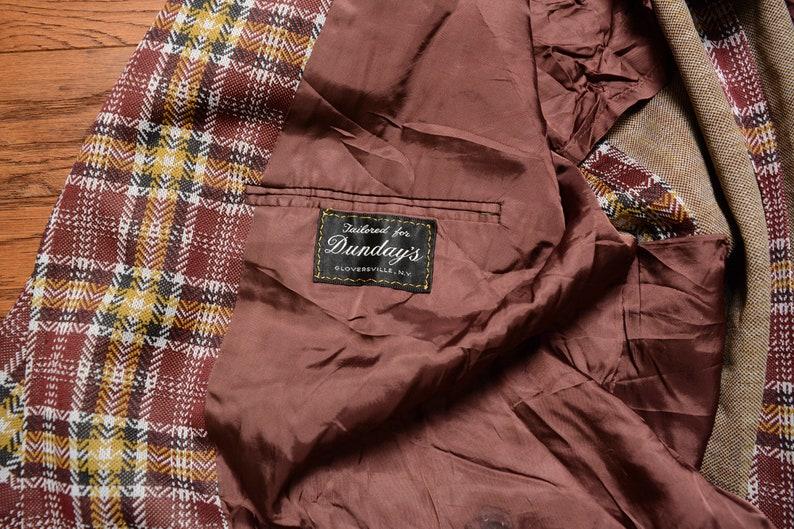 men vintage sport coat 70s plaid sport jacket 1970 menswear yellow black burgundy Dunday/'s 40R 40 double knit polyester blazer
