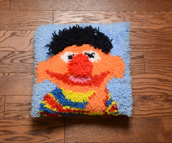 Vintage Ernie Latch Hook Rug Pillow 1970 70s Home Decor Sesame Street Bert And Ernie 14 X 14 Throw Pillow Muppets Frank Oz Jim Henson