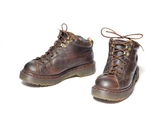 cc5c54605918 Vintage 90s Dr. Martens dark brown leather boot 1990 chunky
