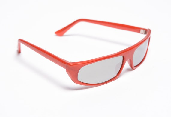 vintage 60s 70s ski sunglasses red orange plastic… - image 2