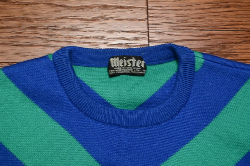 vintage ski sweater 70s blue green chevron stripe Meister 1970 ski sweater racing competition ski sweater 100/% wool ML