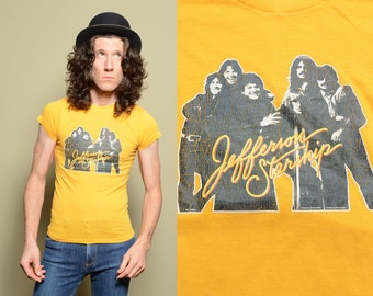 vintage 70s 80s Jefferson Starship t-shirt tee shirt iron on concert shirt 1979 1980 rock tee extra small slim slimfit tight fitted tee