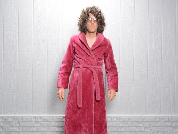 vintage 60s 70s magenta fuchsia robe fuzzy bathrob