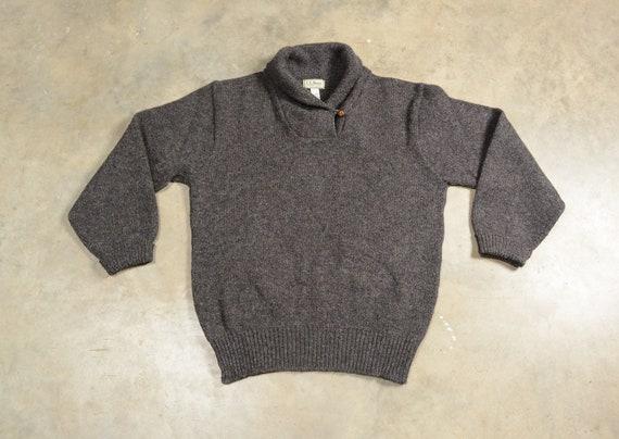 vintage 80s LL Bean fisherman sweater shawl colla… - image 1