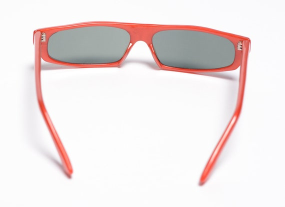 vintage 60s 70s ski sunglasses red orange plastic… - image 3