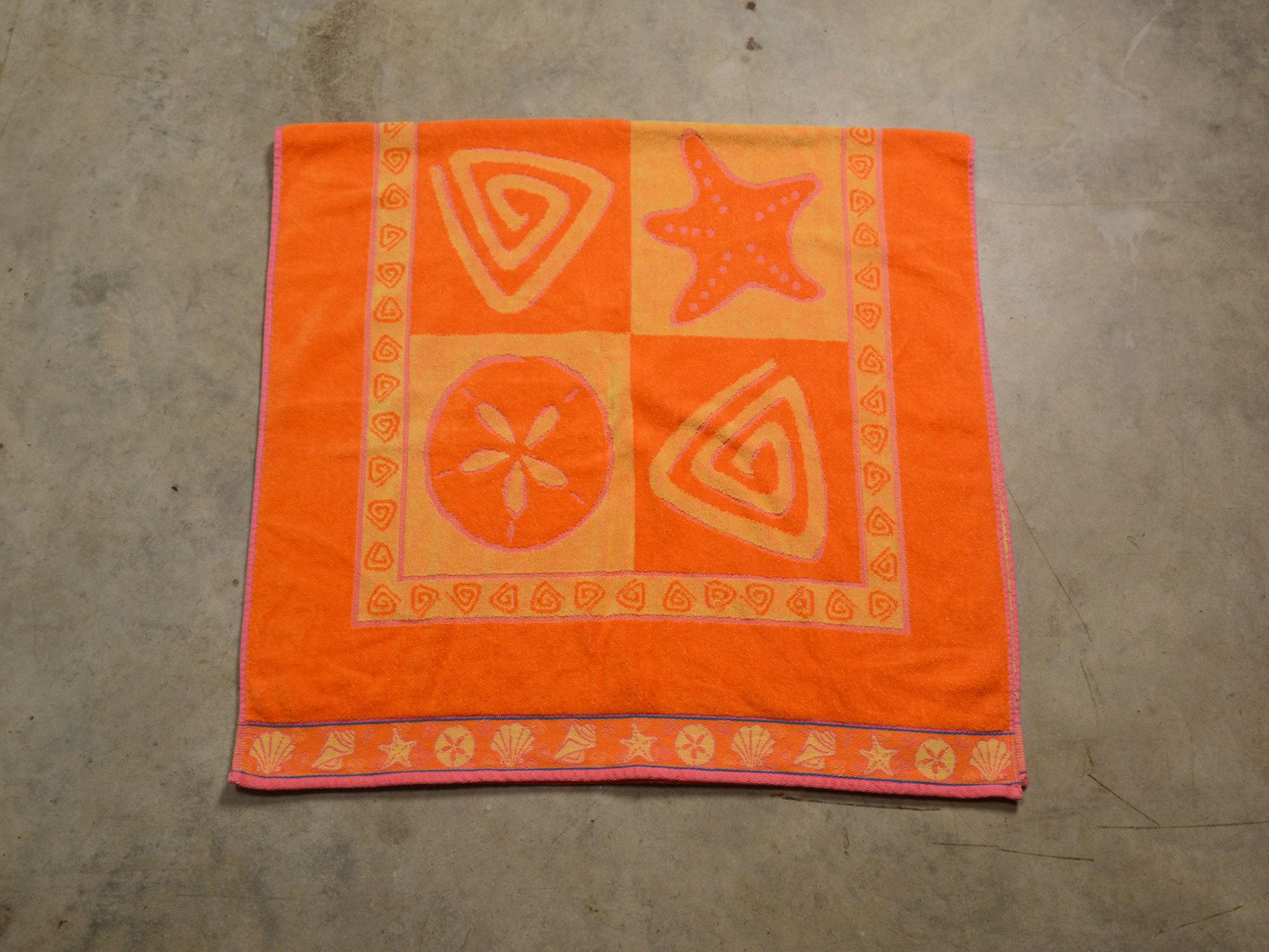Cecil Saydah Beach Towels.Vintage 90s Beach Towel Cecil Saydah Orange Pink Yellow Etsy