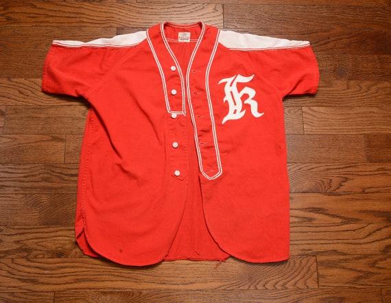 Vintage des années 40 50 s de baseball uniforme Felco Athletic Wear rouge blanc 1940 baseball sport athletic uniforme masculine union fait en sergé de