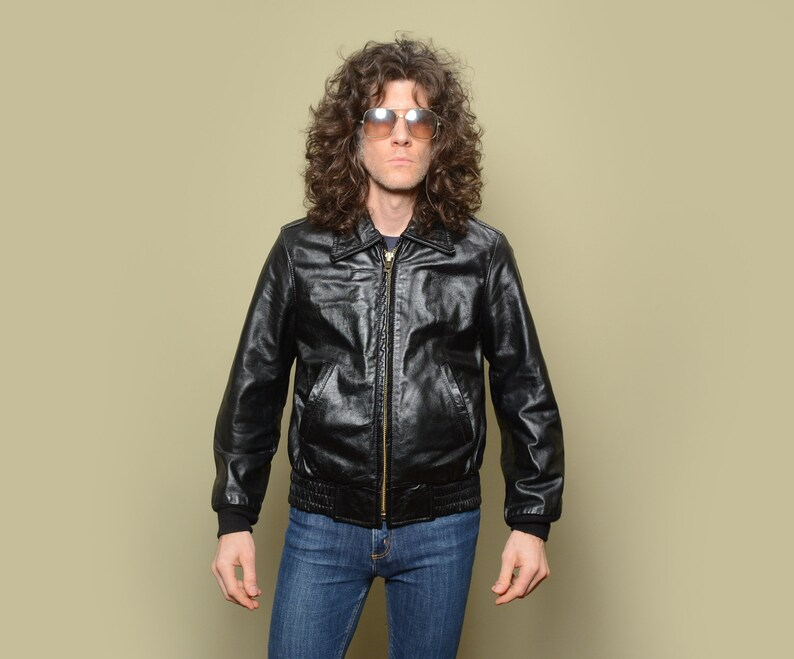 57d9331655d vintage 70s 80s Taylor's Leatherwear leather jacket bomber police biker  motorcycle Lenzip men women unisex 40R 40 M medium