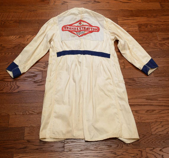 vintage 30s 40s mechanic coat HBT denim smock jac… - image 3