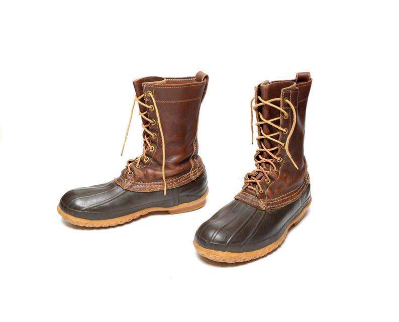d45d7df5c2b95 vintage 60s L.L. Bean boots Maine hunting shoes duck boots 1960 rain snow  boots men size 7 preppy trad New England 8 hole boots 10