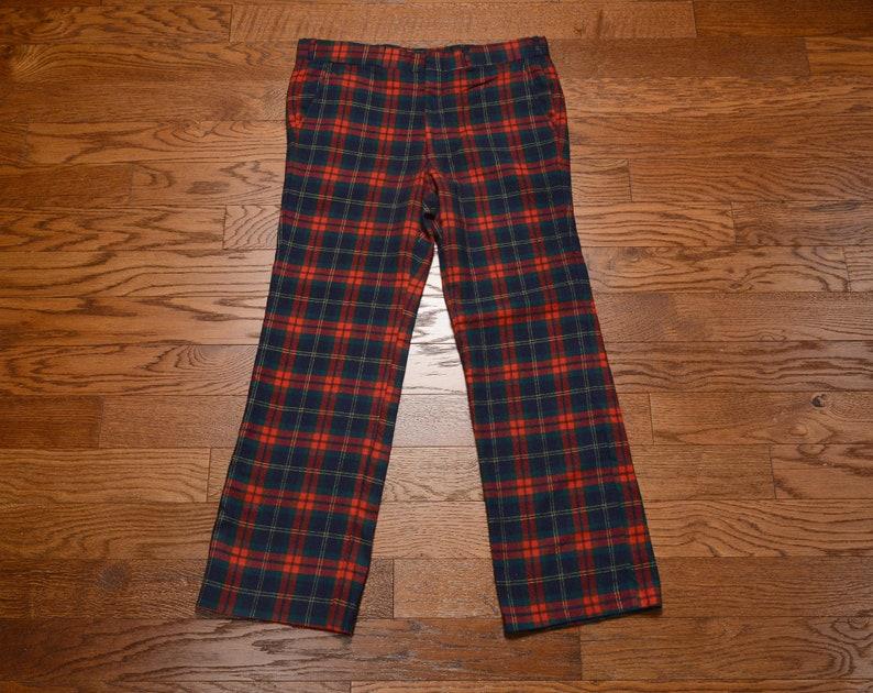 a14d06f5c Vintage 70s plaid pants wool flannel tartan wide leg flare