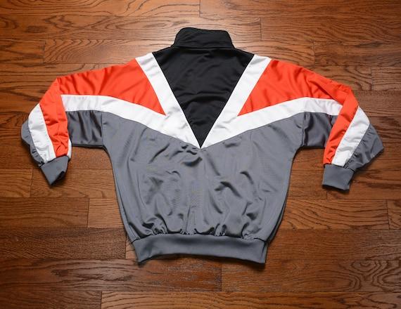 vintage 80s Adidas track jacket 1980 warm up jacket white red black 1980s Adidas jacket M medium athletic sport soccer football