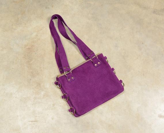 vintage 60s purple suede purse hippie boho handbag