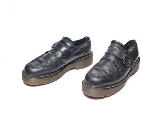 vintage 90s Dr. Martens cuero negro monje correa zapato plataforma creeper grunge bota baja Reino Unido 11 Doc Martens zapato monkstrap hebilla 8690