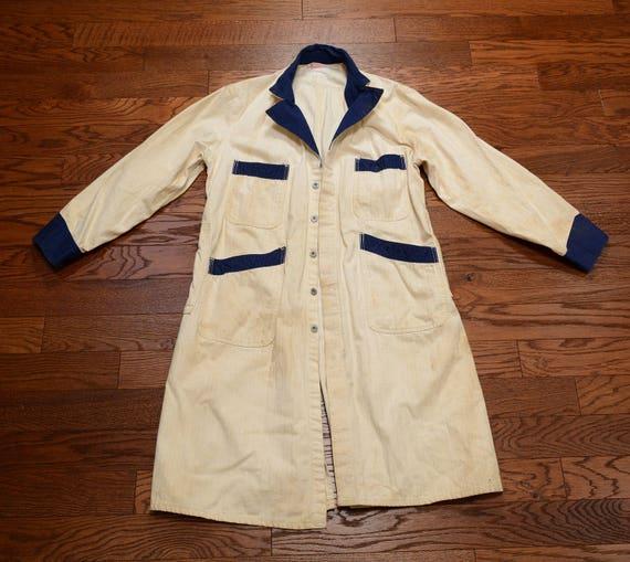 vintage 30s 40s mechanic coat HBT denim smock jac… - image 2