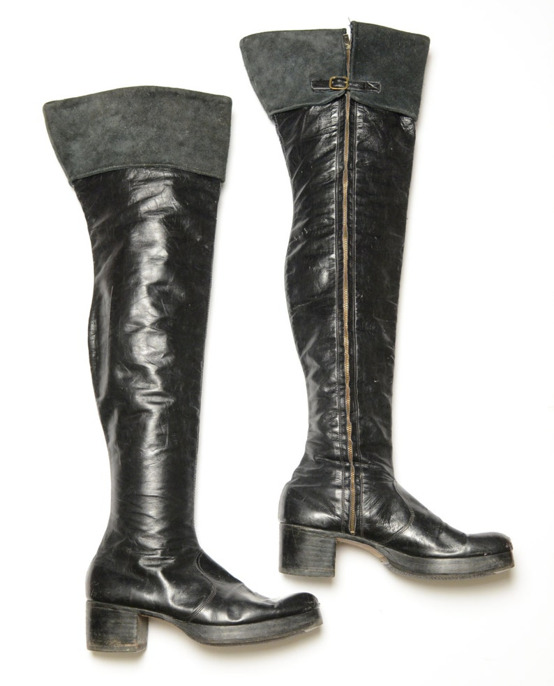 b4e7162c0d7 Vintage 70s glam rock platform boots black leather thigh high