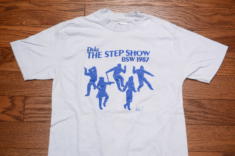 2f0a476153fa Vintage 80s Duke Step Show t-shirt BSW 1987 Black Student