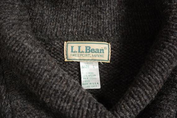 vintage 80s LL Bean fisherman sweater shawl colla… - image 2