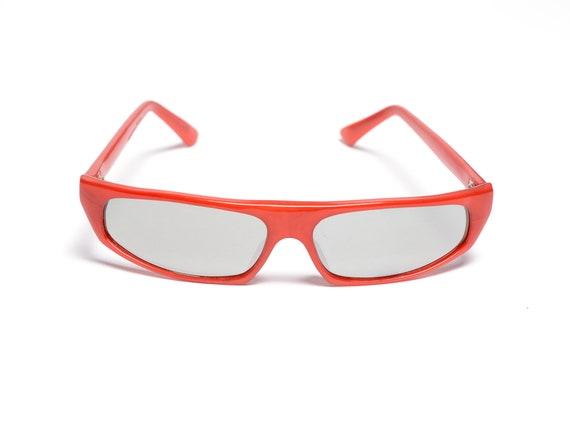 vintage 60s 70s ski sunglasses red orange plastic… - image 1