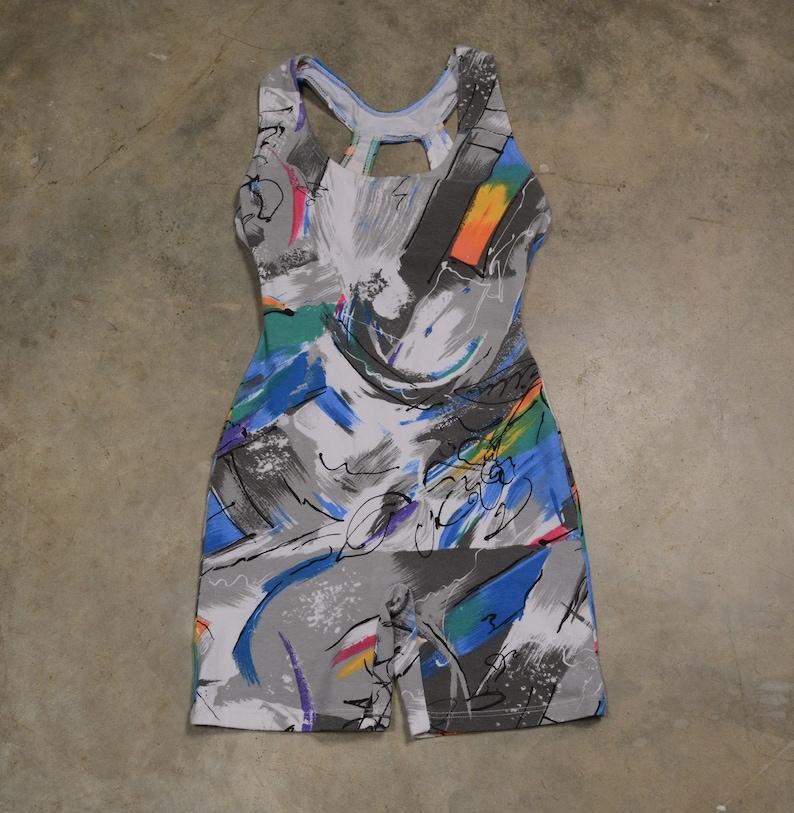 vintage 80s 90s workout outfit spandex unitard leotard aerobics gym abstract rainbow squiggle swirl pattern Marika ML GLOW