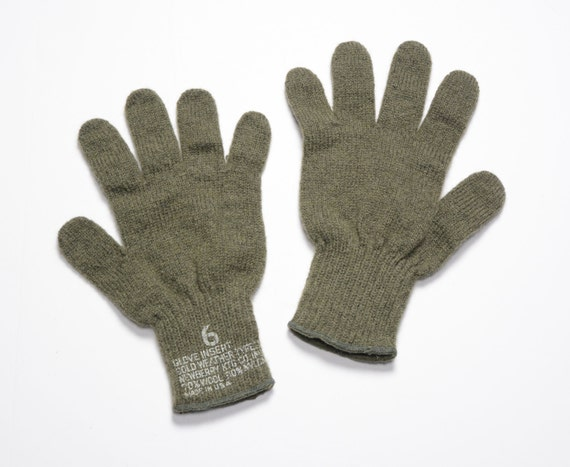 vintage 60s US Army glove inserts wool nylon blend gloves  a127c1fa29f